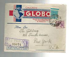 1941 Sao paulo Brazil Registered Commercial Cover to USA Calcado Globo Shoes
