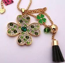 Betsey Johnson Necklace Irish Clover Green St Paddys Gold Crystals Tassels
