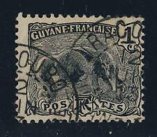 """GUYANE FRANÇAISE - 1913 - CAD """" IRACOUBO """" SUR 1c FOURMILIER Yvert 49"""