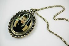 Audrey Hepburn in Little Black Dress Hollywood Pendant Necklace Watch WNS0050