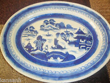 ANTIQUE CHINESE EARLY CANTON BLUE WILLOW DISH-BOWL