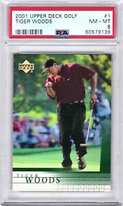 Tiger Woods 2001 Upper Deck Golf Card #1 PSA NM-MT 8