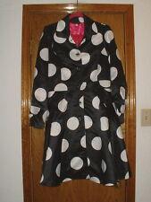 Women's Pink Rock Black & White Mod Large Polka-Dot Full Skirt Coat Size Large
