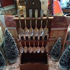 """Colonial Williamsburg 1976 """"13 Colonies"""" Spoon Collection With Wooden Rack"""