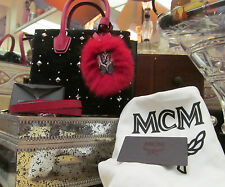 MCM Milla Black Red Velvet Lambskin Insignia Mini special-edition NWT