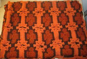 """Vintage handmade Large Crocheted Afgan Throw Blanket Orange red black 51"""" X 72"""""""
