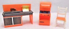 3 Pc 1970s Orange Plastic Mod Dollhouse Doll Kitchen Furniture Stove Sink Chair