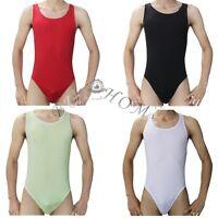 Men's Sheer mesh Bodysuit Fetish Leotard Underwear Jumpsuit Clubwear Swimwear