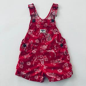 Oshkosh B'gosh 3T Toddler Girl Red Linen Shortalls Overalls