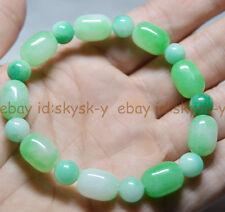 """New Natural 10x14mm Light Green Emerald Gems Beads Bracelet 7.5"""" Aa"""