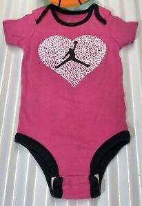 NIKE Air Jordan Bodysuit Baby Girl's Size 3-6 Months Pink/Black Trim RN:81917