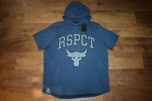 Under Armour Men's Project Rock Terry RSPCT S/S Hoodie 9610 Size XL (Indigo) NWT