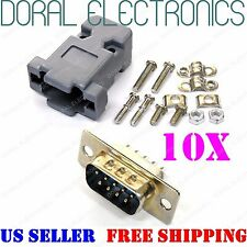 10X DB9 9-Pin Male Solder Cup Connectors & Plastic Hood Shell & Hardware DB-9