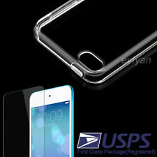 Transparent TPU Case Cover+Tempered Screen Protector For Ipod touch 6th/7th gen