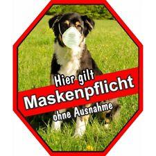 Aufkleber Maskenpflicht Sticker  - Hund mit Maske - Australian Shepherd - ohne A