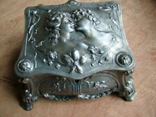 More details for vintage antique french pewter jewelry casket highly ornate art nouveau