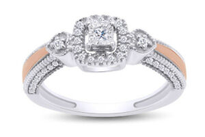 1/6 Ct Round White Natural Diamond Promise Ring In 14k Rose Gold Over Silver 925