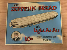"Silk Screened Tin Sign Zeppelin Bread 14"" x 11"""