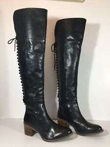 Diba True Sunset Sail Over The Knee Boots Heels Shiny Black Leather Size 9