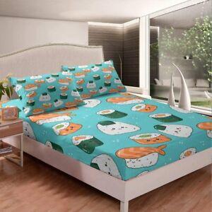 Cartoon Sushi 3Pcs Bed Sheet Set Deep Pocket Fitted Sheet Pillowcase US Size