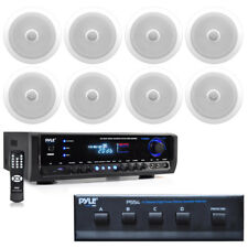 "8"" 2-Way In-Ceiling 300W Speakers & Selector, Pyle 300W Bluetooth Home Receiver"