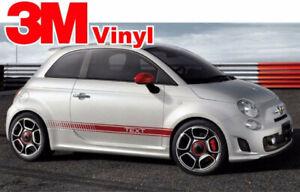 Stripe Fits: Fiat 500 Custom Vinyl Decal Graphics Abarth Style Side Stripes 3M
