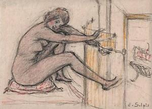 EMILE-JEAN SULPIS Pastel Drawing NUDE LADY c1915 ARTS & CRAFTS IMPRESSIONIST