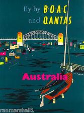 Australia Nighttime Australian Qantas Vintage Travel Advertisement Art Poster