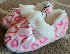 Toddler Girls Size 5//6 Pink Heart Soft A-Line Slippers House Shoes New