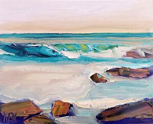 CALM SHORE Original Expression Seascape Ocean Art Oil Painting 8x10 021619 KEN