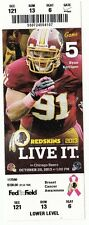 2013 WASHINGTON REDSKINS VS CHICAGO BEARS TICKET STUB 10/20/13 RYAN KERRIGAN