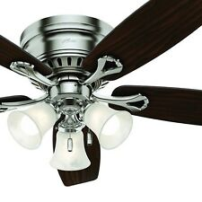 Hunter Fan 52 in Brushed Nickel Finish Ceiling Fan w/ Light Kit & Remote Control