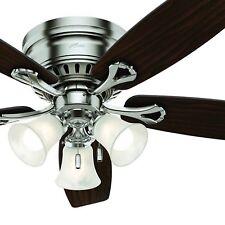 Hunter Fan 52 in Brushed Nickel Finish Ceiling Fan w/ Light Kit & Remote Control