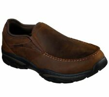 Brown Shoes Skechers Men Memory Foam Slip On Comfort Casual Leather Loafer 66153