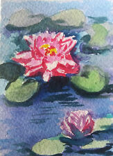 Aceo Water lily Watercolor painting Art 2.5x3.5in by Mk
