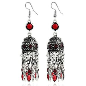 Simulated Crystal Long Teal Vintage Bohemian Chandelier Ruby Dangle Earrings
