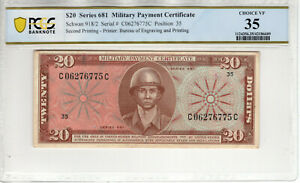 SERIES 681 $20 MILITARY PAYMENT CERTIFICATE MPC SECOND PRINTING PCGS B CH VF 35