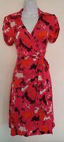 Womens Diane Von Furstenberg Pink Floral Tab Shoulders Belted Silk Wrap Dress 10