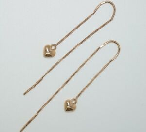 585 14 Karat 585/14k Rose Gold Pull Through Heart Earrings