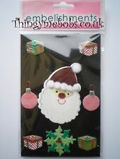 SANTA HEAD 3D CHRISTMAS STICKERS/EMBELLISHMENTS - CHILDREN'S CRAFTS/CARD MAKING