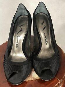 NINA  SHOES  SIZE 9 M Black Satin  Peep Toe Pump with leather sole