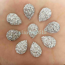 DIY 40pcs Resin drop shape/Flat Back Appliques Scrapbooking for phone/ silver