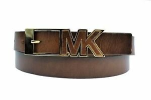 New Michael Kors MK Women's Genuine Leather Logo Buckle Belt *LUG Style# 552526