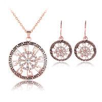 Black Drip Rhinestones Alloy Pendant Necklace Earrings Rose Gold Jewellery Set