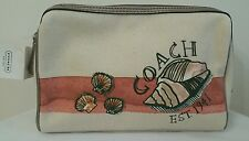 COACH BEACH MOTIF STARFISH MEDIUM COSMETIC CASE CORAL F48158--NEW