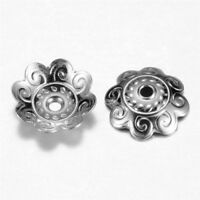 50 Pcs 304 Stainless Steel 8-Petal Flower Bead Caps Findings 10.5x1mm Hole 1mm