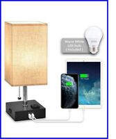 USB Bedside Table Lamps, Nightstand Lamp with Charging Ports AC Outlet and Bulb