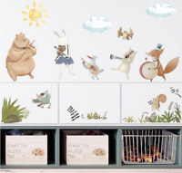 Jungle Animal music band watercolour Wall Decal Nursery Baby Decor removable