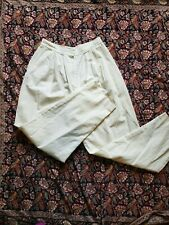 VTG 70s/80s White High Waisted Paper Bag Pants Size pleated 6 college town brand