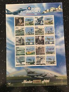 ISLE OF MAN SHEET NUMBER 1. ONLY 500 PRINTED. RAF CELEBRATING 90 YEARS.